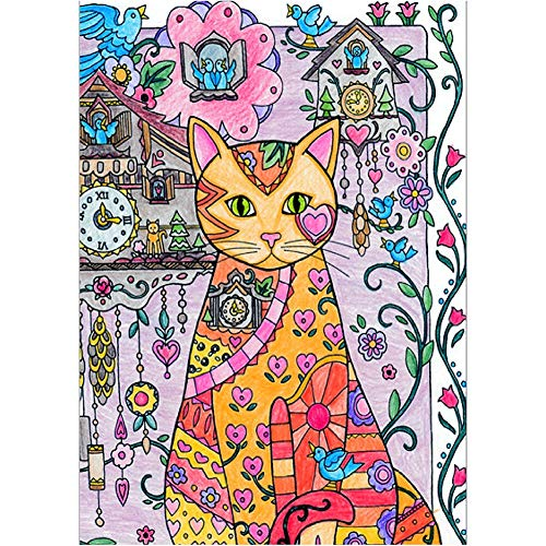 Fairylove 12×16 inches DIY Diamond Painting Kit Full Cat Paint with Diamonds Embroidery Paintings Pictures Arts Craft for Decor,Cat and Cuckoo Clock