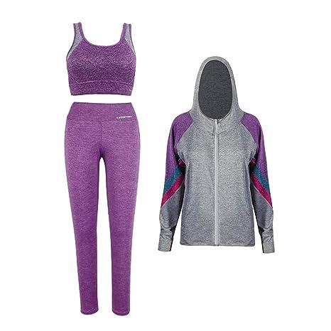 Ropa deportiva para mujer Sudadera con capucha Leggings deportivos Sujetador  Medias elásticas Pantalones correr Conjunto c7632dd3d790