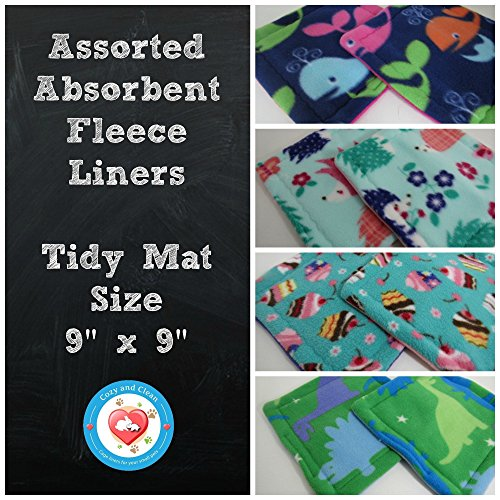 Fleece Cage Liner, Absorbent Liner, Tidy Mat Size, 9 x 9 inches | Set of 4 | Assorted Colors and Patterns