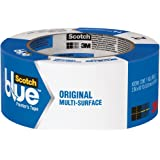 """3M Scotch-Blue 2090 Safe-Release Crepe Paper Multi-Surfaces Painters Masking Tape, 27 lbs/in Tensile Strength, 60 yds Length x 2"""" Width, Blue"""