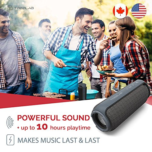 TREBLAB HD55 - Deluxe Bluetooth Speaker - Impeccable 360° HD Surround Sound & Best Bass, Great For Office, Travel & Beach Parties, Waterproof IPX4, Loud 24W Stereo, Portable Wireless Blue Tooth w/Mic by Treblab (Image #1)