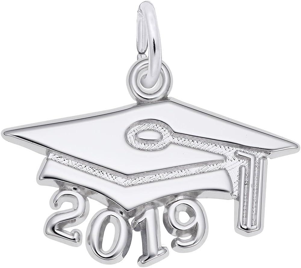 14K Rose Gold Polished /& Block 2019 Graduation Small Charm Pendant