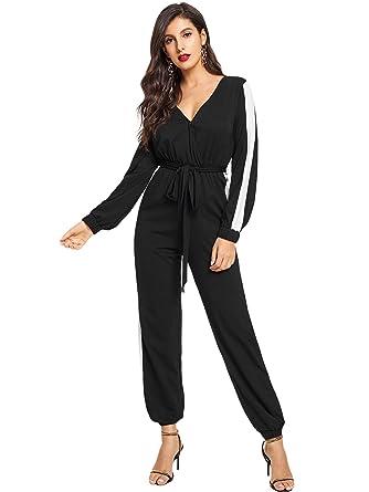 2c751ebb2bce Amazon.com  Romwe Women s Deep V Neck Self Belted Colorblock Jumpsuit  Workout Rompers  Clothing