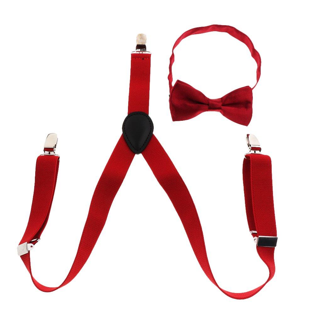 IPOTCH Bretelles avec Nœud Y Forme Élastiqué Clips Ajustable Pince pour Enfants 1-10 Ans 66x3cm