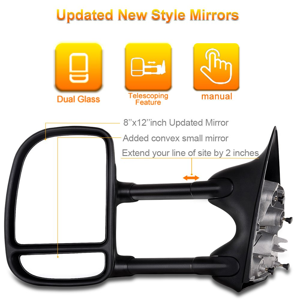 for Ford SCITOO Exterior Accessories Mirrors for 1999-2007 Ford F250 F350 F450 F550 Super Duty with Convex Glass Manual Controlling Telescoping and Folding Features Autodayplus Towing Mirrors