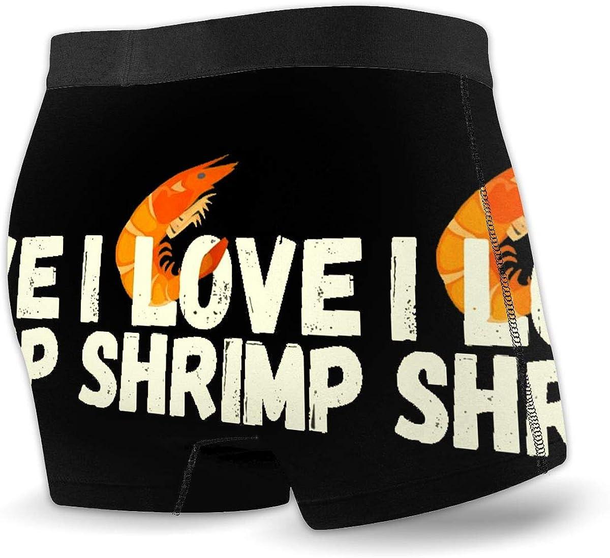 I Love Shrimp Men Regular Leg Boxer Brief Underwear Ride-Up Panties