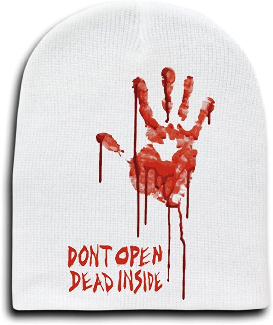 White Adult Beanie Skull Cap Hat - Bloody Dead Zombie Hand Dont Open Dead Inside