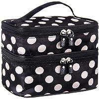 Dubbellaags cosmetische tas zwart met witte stip reizen toiletartikelen cosmetische make-up organizer met spiegel