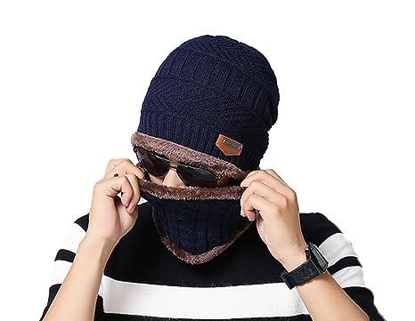 1 Set uomini blu ragazzi maglieria protezione invernale set sciarpa  scaldacollo e cappello berretto esterno cerchio c5f1b59caf0a