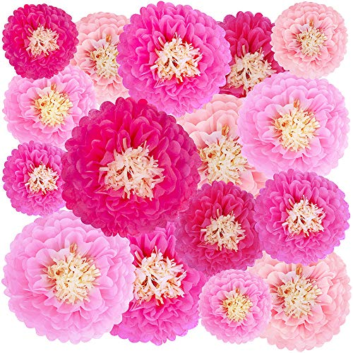 16 Pcs Tissue Paper Flowers Decorations Tissue Paper Pom Poms Chrysanth Flowers Paper Blooms 4 Pink Colors 6.7