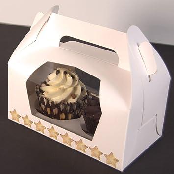 Star - Cajas de cartón para Cupcakes (50 Unidades), Color Blanco: Amazon.es: Hogar