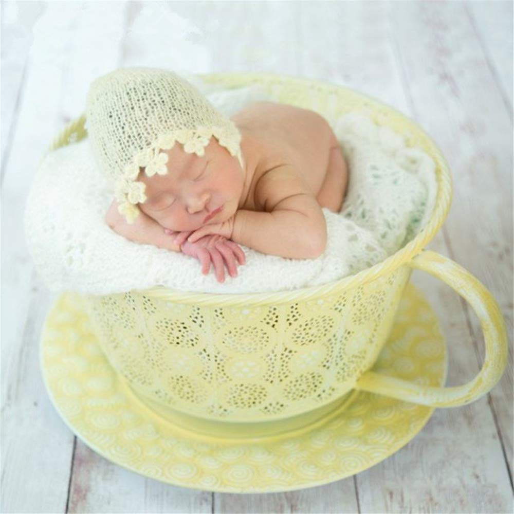 Dvotinst Newborn Photography Props for Babies, Cute Iron Coffee Cup Posing Prop for Baby Photo Shooting (Yellow)