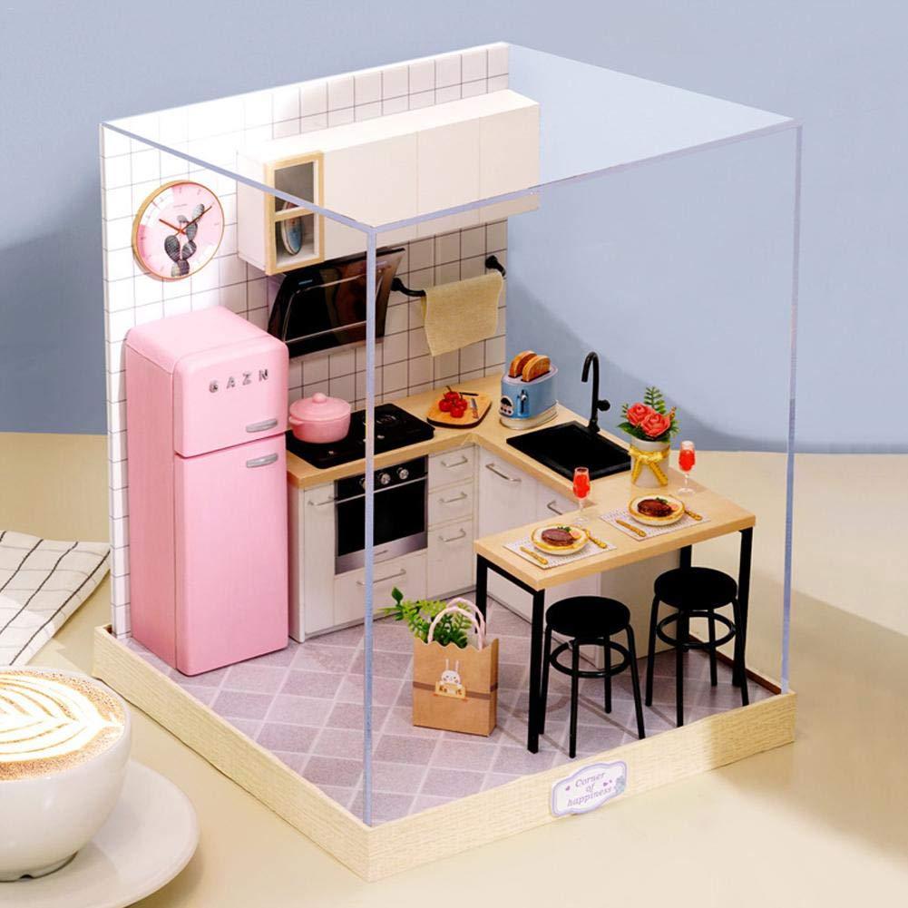 modello Mini House Migliori regali per bambini e adulti noble Kathariiy Kit per case delle bambole in miniatura Kit artigianali per la casa fai-da-te con luci e mobili e copertura antipolvere