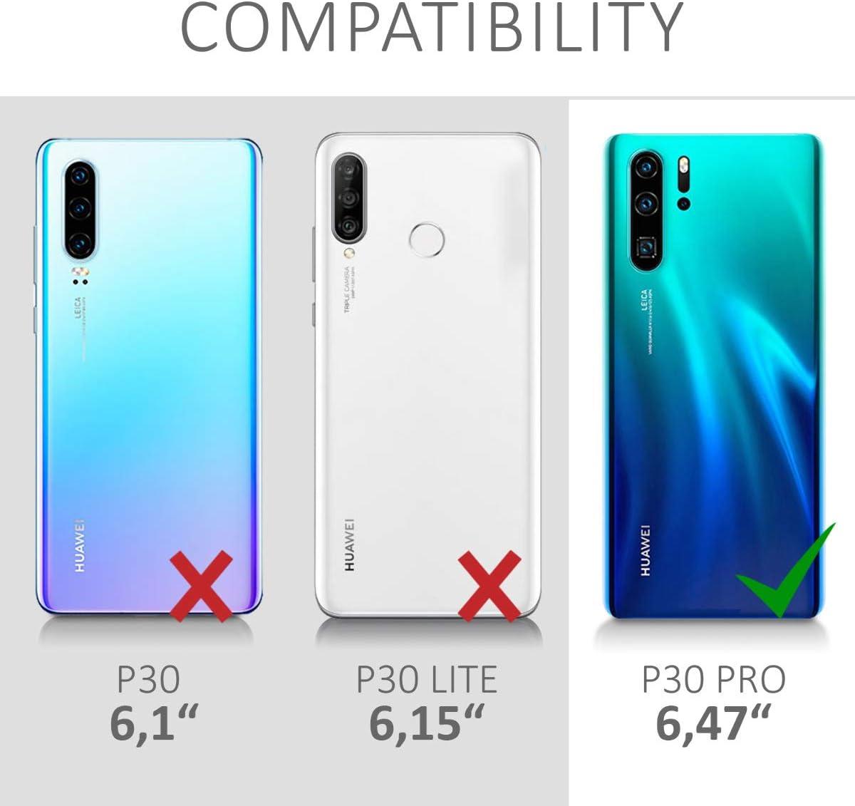 kwmobile Funda Compatible con Huawei P30 Pro Carcasa de TPU y Ola Japonesa en Azul//Blanco//Transparente