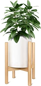 Simple Deluxe Display Artificial Plant Stand Mid Century Beech Wood Flower Pot Holder (Pot Not Included) Modern Indoor Home Decor Rack Rustic, Up to 10 Inch Planter, Natural