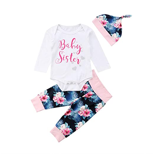 ba9ac39f29003 Newborn Infant Baby Girls Long Sleeve Tops Romper Floral Pants Hat Outfits  Set Clothes 0-