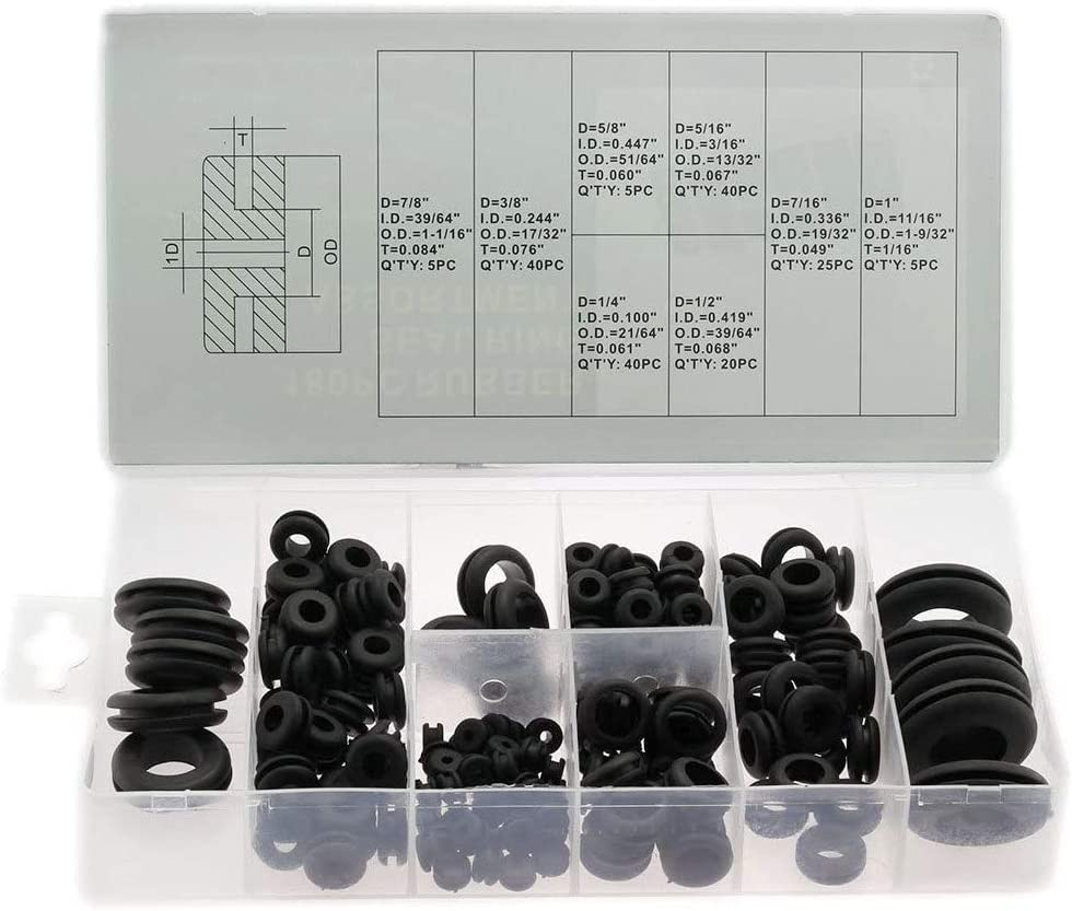 HJ Garden 180pcs Rubber Grommet Assortment Kit 8 Popular Sizes Wire Cable Hose Ring Rubber Seal Protect Plug O-Ring Assortment Fastener Electrical Grommet Gasket Tools Kit