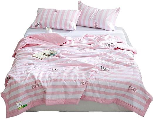 Colcha fresca de verano El aire acondicionado de algodón de color rosa con rayas de verano es fresco en verano gracias a la sección delgada de algodón. edredón flores,edredón infantil niña cama.: