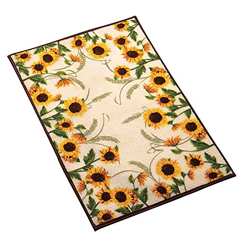 "Collections Etc Autumn-inspired Sunflower Harvest Rug, Yellow, 22"" X 60"""
