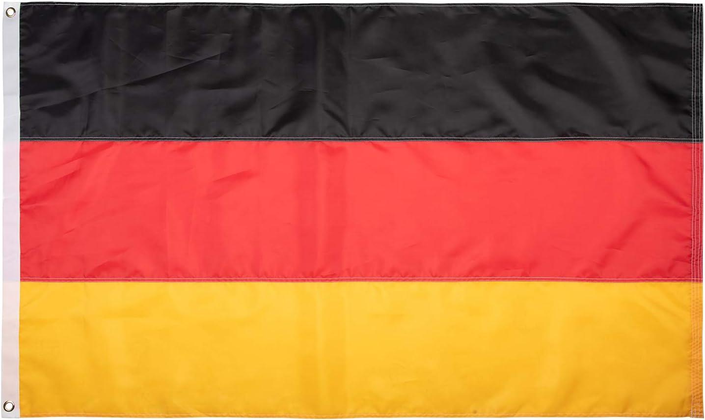 Lixure Bandera de Alemania 5x3 Días Ventosos 5x3ft (150x90cm) Bandera Nacional Nylon 210D Duradero para Exteriores/Interiores Bandera de Decoración ...