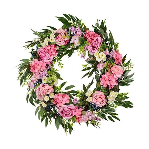 20″ Rose Wreath Front Door Wreath,Artificial Flower Rose Flower Hydrangea Blueberry Willow Leaves Twig Door Wreath for Home Party Indoor Outdoor Window Wall Wedding Decoration