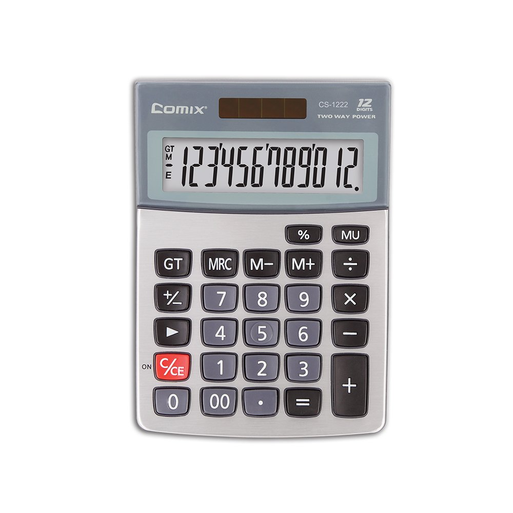 Comix Standard Function Desktop Calculator, Dual Powered, Large LCD Display, 12 Digits, CS-1222