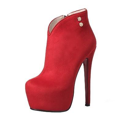 87636a5409af93 YE Damen Ankle Boots Stiletto High Heels Stiefeletten Plateau mit  Reißverschluss 16cm Absatz Elegant Simple Schuhe  Amazon.de  Schuhe    Handtaschen