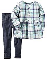 Carter's Toddler Girl's Plaid Henley Top & Leggings 18 Months