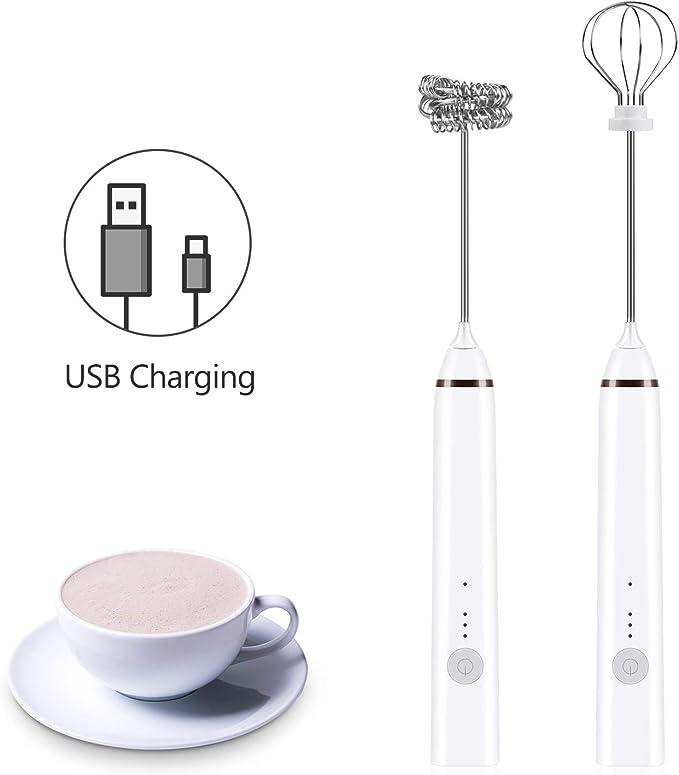 3 Velocidades 3 Cabezales para Latte Cappuccino Huevo Bubbler de Leche Mano USB Recargable con LCD Versi/ón Inteligente Espumador de Leche El/éctrico
