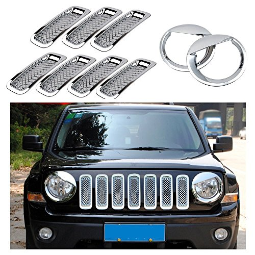 Chrome Front Billet Grille Mesh Insert Light Lamp Cover Trim Kits for 2011 2012 2013 2014 Jeep Patriot (Silver Mesh Angry Bird 9pcs)