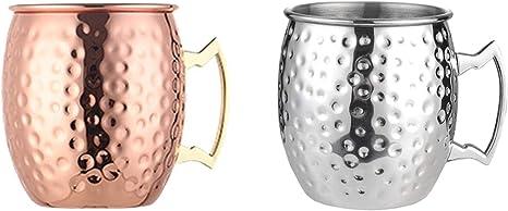 Wenlai Copa Mula de Moscú, Tazas cócteles con Caja Regalo, Moscow Mule Taza Set 2 pzs, Adecuado para Bebidas de Jugo de Cóctel, para Cerveza, Taza de ...