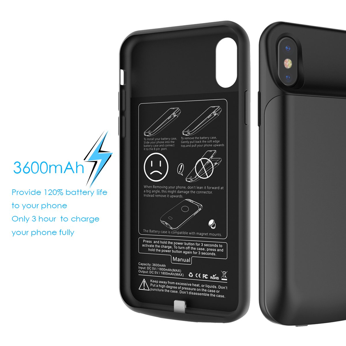 Amazon.com: Scheam iPhone X Battery Battery Case Pouches ...
