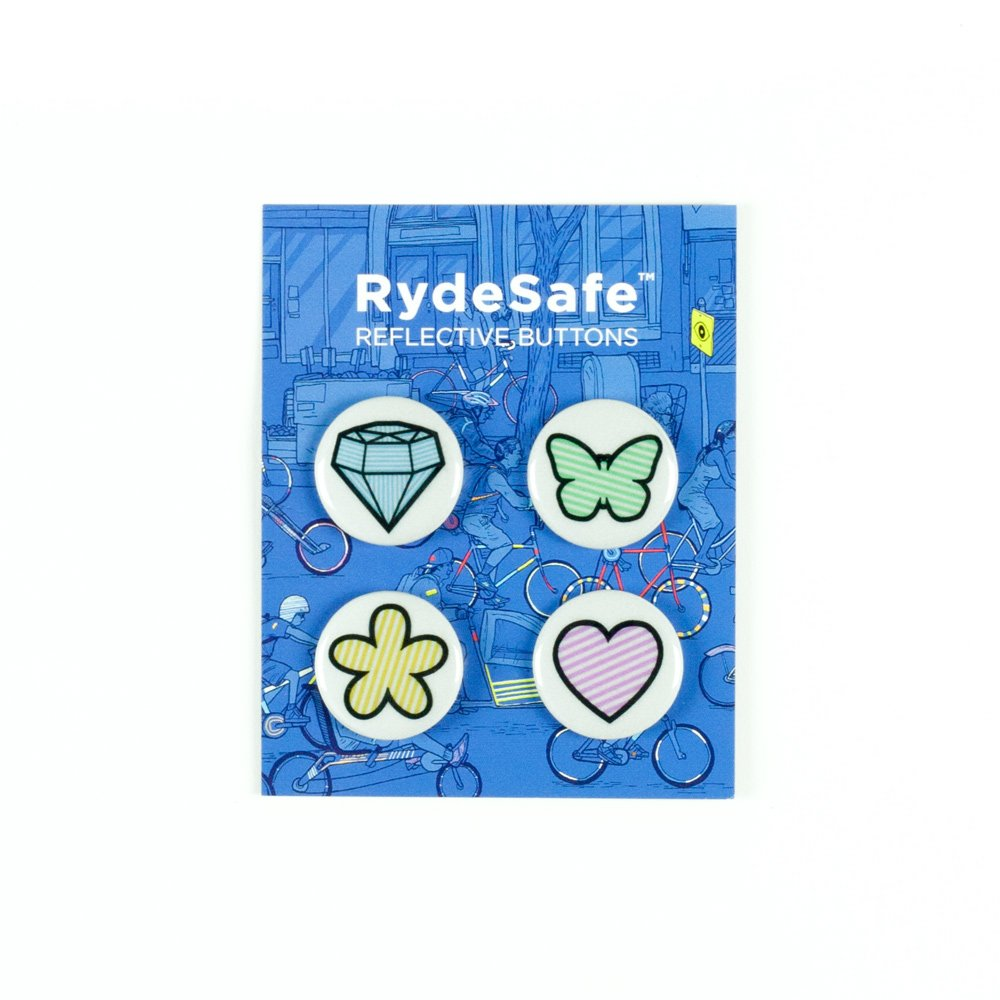 RydeSafe Reflective Buttons - Cuteness - 4 Pack