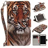 Misteem Case for iPhone 7 Plus/ 8 Plus Animal, Cartoon Anime Comic Leather Case Wallet with Bookstyle Magnetic Closure Card Slot Holder Flip Cover Shockproof Slim Creative Pattern Shell Protective Cover for Apple iPhone 8 Plus/ 7 Plus 5.5 inch [Tiger]