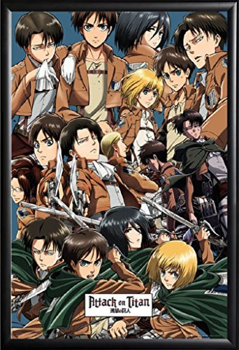 Framed Attack on Titan - Main Characters 24x36 Poster in Basic Black Detail Wood Frame