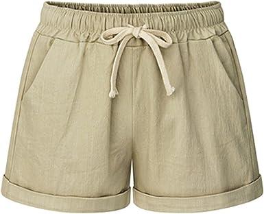 Pantalones cortos de playa de lino y algodón con cordón elástico ...