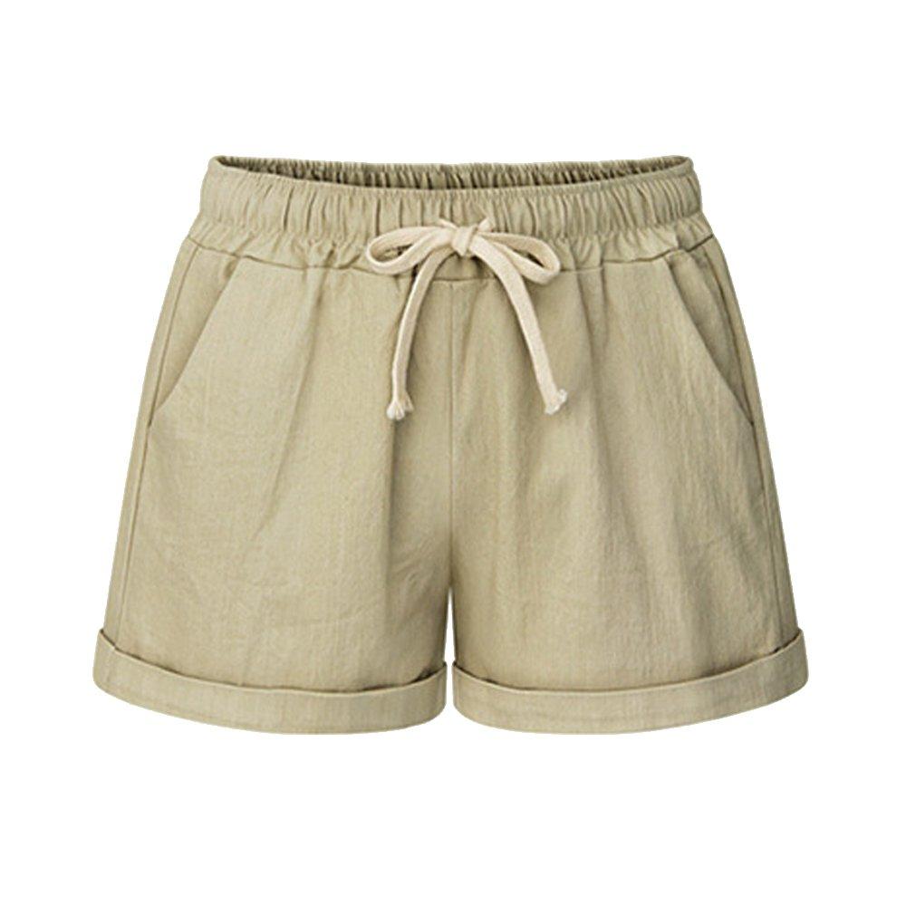 Women's Drawstring Elastic Waist Casual Comfy Cotton Linen Beach Shorts Khaki Plus Size Tag 8XL-US 24 by Sobrisah