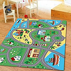 "Furnish my Place City Street Map Children Learning Carpet/Kids Rugs Boy Girl Nursery/Bedroom/Playroom/Classrooms Play Mat, Rectangle, 3'3"" L"