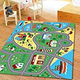 Furnish my Place City Street Map Children Learning Carpet, Play Carpet Kids Rugs Boy Girl Nursery Bedroom Playroom Classrooms Play Mat Children's Area Rug