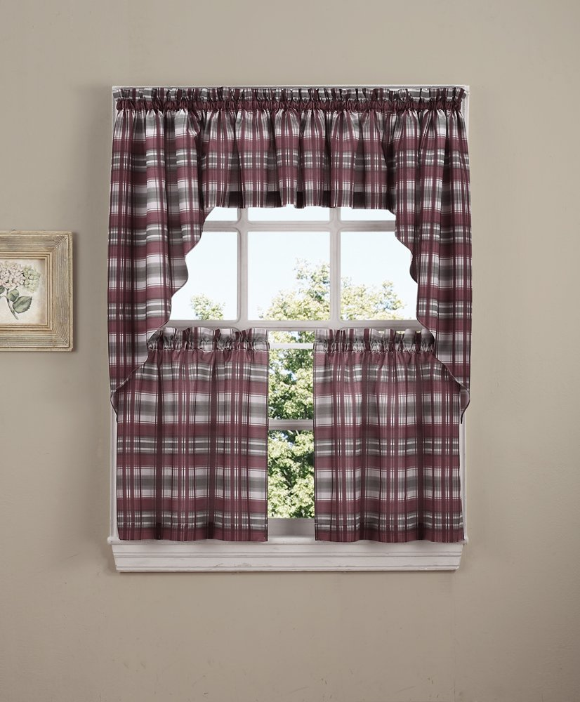 Gingerbread Kitchen Curtains Amazoncom No 918 Dawson Plaid Kitchen Curtain Tier Pair 58 X
