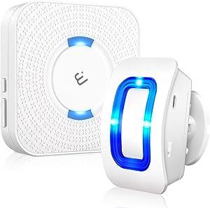 Wireless Motion Sensor Alarm, ELEPOWSTAR Motion Sensor Detect Alert, Motion Detection Doorbell with 52 Chimes/4 Level Volumes/LED Flash (1 Receiver+1 Motion Sensor)