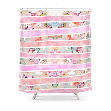 Society6 Modern Floral Watercolor Girly Pastel Pink Stripes Shower Curtain 71quot
