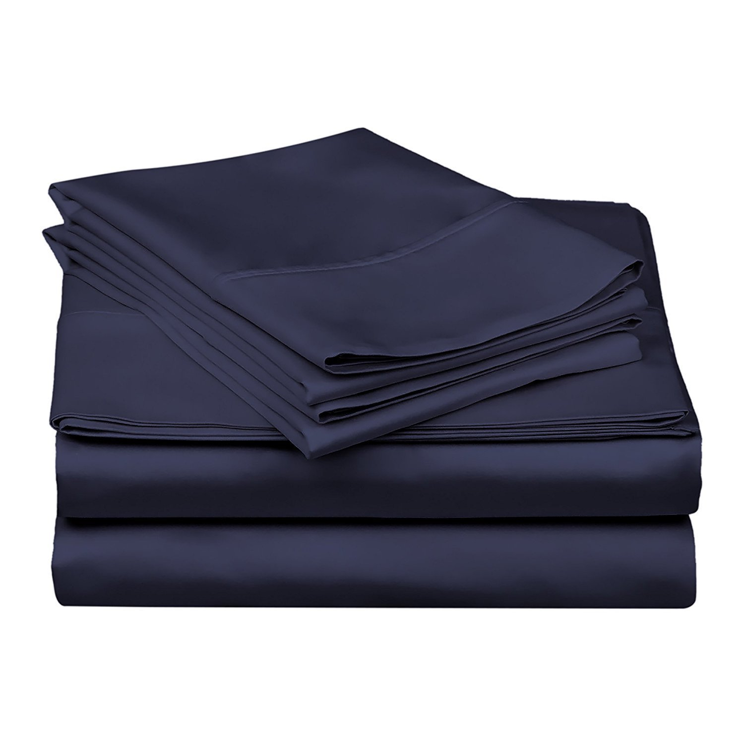 Rajlinen Ultra Soft Cozy 100% Percale Cotton 4 PCs Bed Sheet Set - 400 Thread Count 15 inch Deep Pocket - Extremely Smooth Stronger Durable Quality Bedding (Navy Blue Solid,Twin-XL)