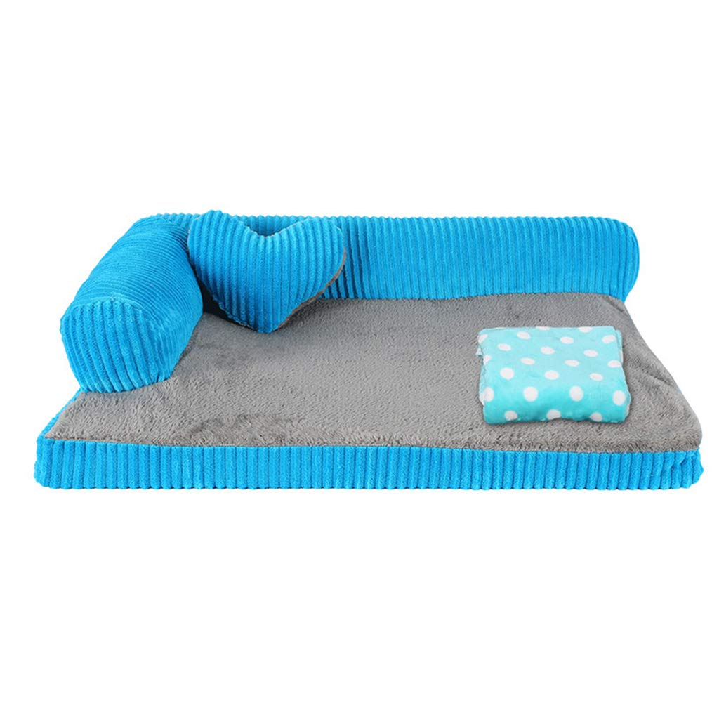 M 68×57×17cm Qz Orthopedic Dog Bed for Small Medium Large Dogs, Indestructible Puppy Kennel Beds For Cat Pet, bluee (Size   M 68×57×17cm)