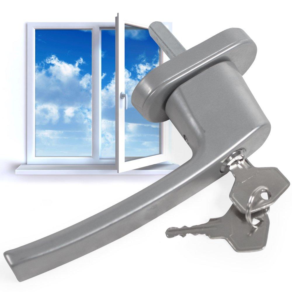 4 tectake Fenstergriffe abschlie/ßbar Sicherheitsfenstergriff inklusive 2 Schl/üssel pro Griff silber-matt diverse Mengen-