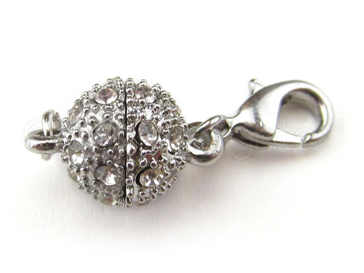 8 CleverDelights Magnetic Jewelry Clasps - Rhinestone Ball Style + Lobster Clasp - Silver Color