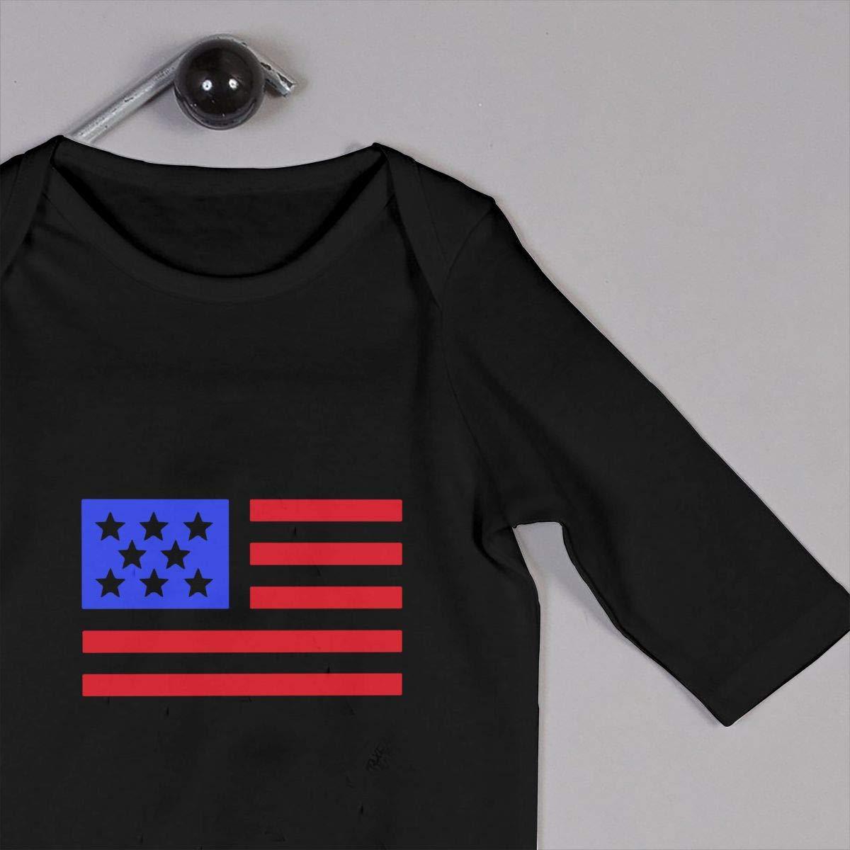Db84UR@5p Newborn Baby Girls Boys Long Sleeve Jumpsuit Warm Abstract American Flag Cotton Romper