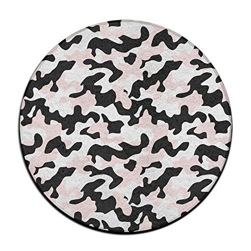 BesHomes Camouflage Area Rug Easy-Clean Carpet Non-slip Round Floor Mat Woman Yoga Mat (60cm Round) Pink Camo Star Step