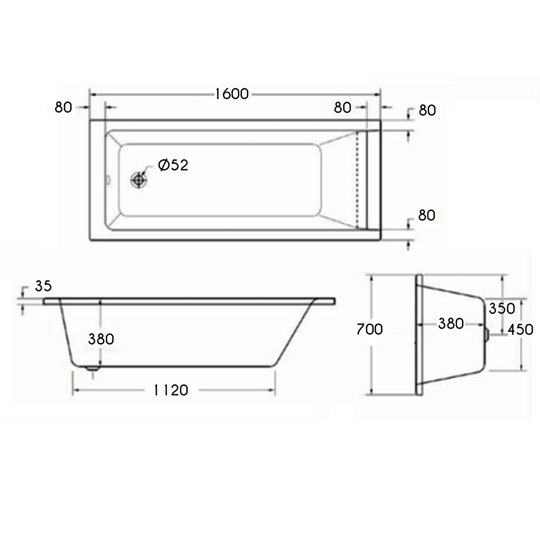 Cesar 1500 x 700mm Designer Single Ended Bathtub Acrylic Square Bathroom Straight Bath Tub