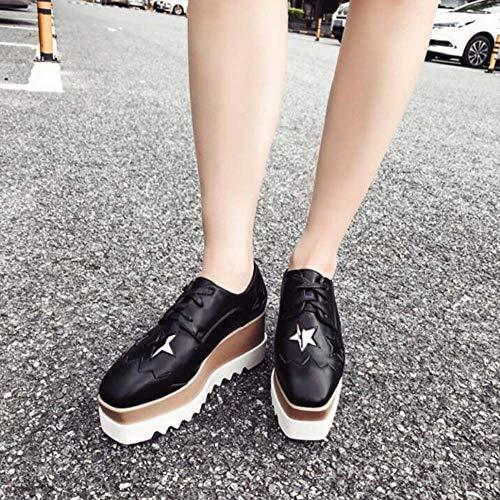 Bomba Plataforma Zapatos Amortiguar Zapatos Mujeres 7.5 Cm Cuña Talón 4.5 Cm Impermeable Plataforma Zapatos Casuales Encaje hasta Star Zapatos Casuales UE Tamaño 34-40 Black